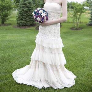 Runway Couture Wedding Gown YSA Makino XS Sz 0